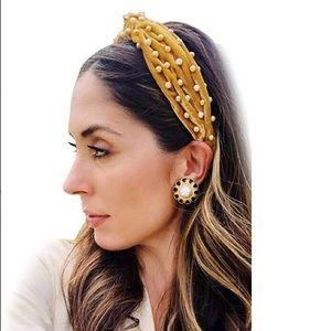 SALE‼️ Mustard Yellow Pearl Velvet Headband